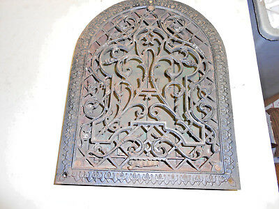 Antique Cast Iron Ornate Arch Top Wall Grate Heat  Vent  With Working Louvers