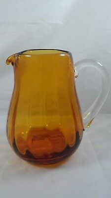 Amber Brown Hand Blown Glass Small Pitcher Creamer with Clear Handle!