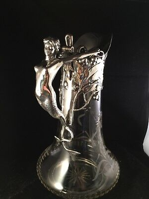 WMF glass and silver plate wine carafe/ decanter mermaid