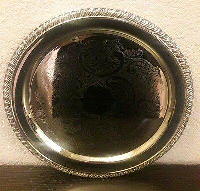 """12"""" Silverplate Round Etched Serving Tray Food Platter Plate Silver Plated Plate"""