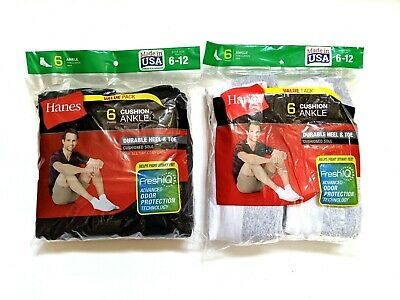 Hanes Mens Cushioned Ankle Socks Shoe Size 6-12 Large 6-Pair Black Or White New