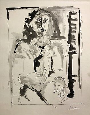 Signed PICASSO, Ink on Paper, circa 1968