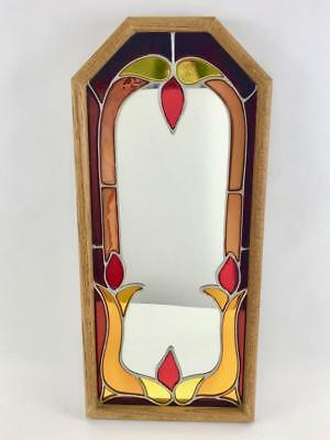 Beautiful Vintage Stained Glass 25 x 11 Wall Hanging Mirror