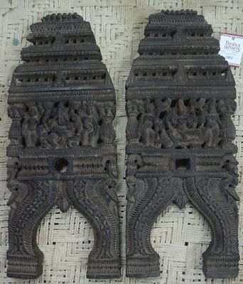 Antique Kavadi Religious Panel Pair Carved Wood 52x22x2cm