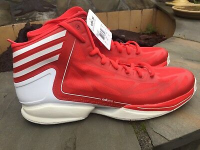 wholesale dealer 4c927 37afd NWT Mens Adidas Basketball AS SMU adiZero Crazy RED and White Size 15