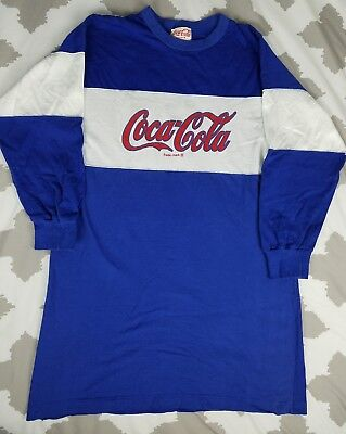 e9a2c1bd Coca Cola Classic Vintage Spell Out Long Sleeve T Shirt 80s VTG Rugby Soda  Blue