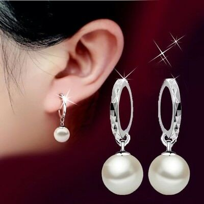 Womens Pearl Earrings Hoop Hook Ear Huggie Sleeper Round 925 Sterling Silver UK