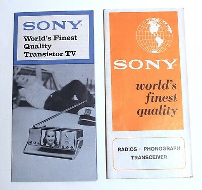 Pair of Vintage 60s 1960's Sony Radio Transistor TV Catalogue Brochures Booklets