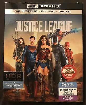 Dc Comics Justice League 4K Ultra Hd Blu Ray 2 Disc Set + Slipcover Sleeve Hdr