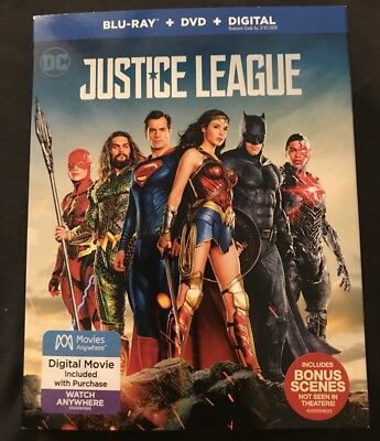 Dc Comics Justice League Blu Ray + Dvd With Slipcover Sleeve Free Shipping