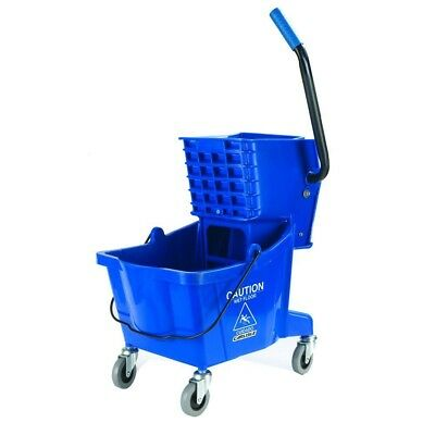 Mop Bucket Wringer Combo Heavy Duty Polyethylene Construction Cleaning Tool Blue