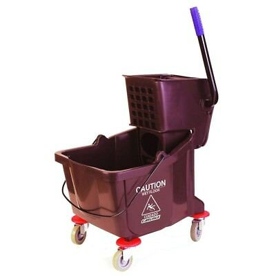 Brown Wringer Mop Bucket Non Marking Casters Home Church School Business Use NEW