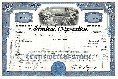 Admiral Corporation, Delaware 1971  (1.000 Shares)