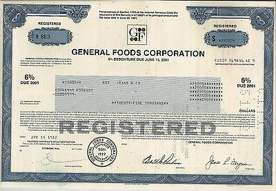 General Foods Corporation 1982, 6% Debenture due 2001 (25.000 $)