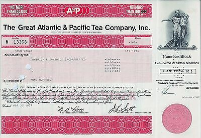 A & P The Great Atlantic & Pacific Tea Company Inc., Maryland, 1967 (100 Shares)