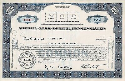 Miehle-Goss-Dexter Incorporated, Delaware, 1959 (100 Shares)