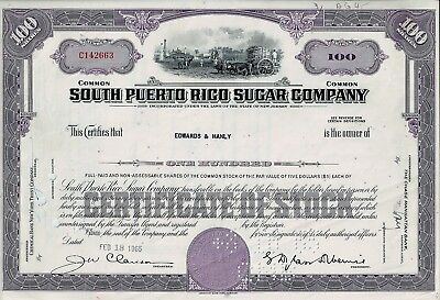 South Puerto Rico Sugar Company, New Jersey, 1965  (100 Shares)