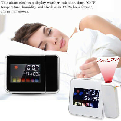 LCD Digital Projector Projection Alarm Clock Weather Station Calendar Snooze