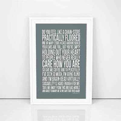 Blur Coffee And Tv Lyrics Poster Words A4 A3 Sizes First Dance Song Wedding Gift