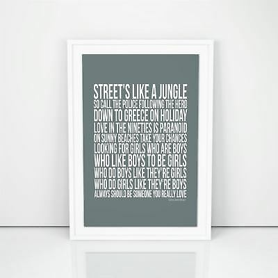 Blur Girls And Boys Lyrics Song Poster Picture Wall Print Artwork A4 A3 Sizes