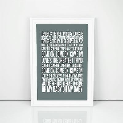Blur Tender Lyrics Poster Song A4 A3 Size Wall Art Printed Present Typology Gift