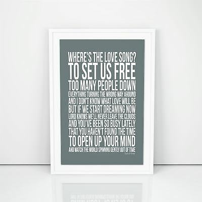 Blur Out Of Time Lyrics Poster Printed Typography Gift Wall Art A4 A3 Sizes