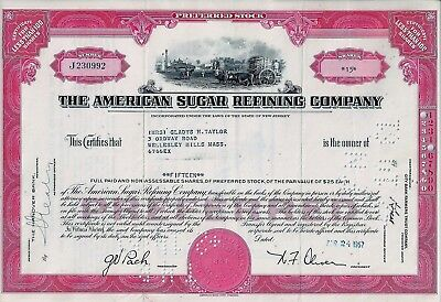 The American Sugar Refining Company, New Jersey, 1957  (15 Shares Pref.)