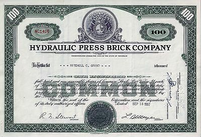 Hydraulic Press Brick Company, Missouri, 1952 (100 Shares) Bären-Vignette