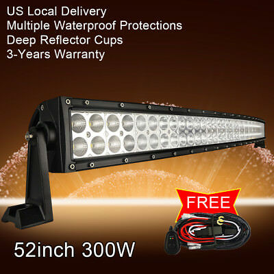 "52"" inch LED Work Light Bar Curved Offroad Truck Jeep Ford Baot Fog ATV UTE SUV"