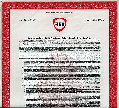 FINA / Petrofina S.A., Warrant for One Share of Capital Stock Petrofina S.A