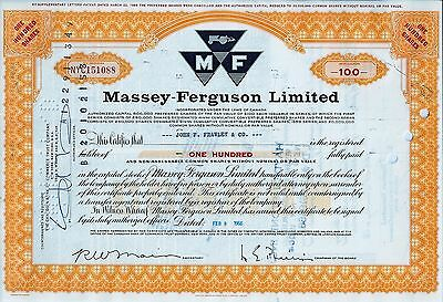 CANADA - Massey-Ferguson Limited, 1966 (100 Shares) gelb, alte Aktienversion
