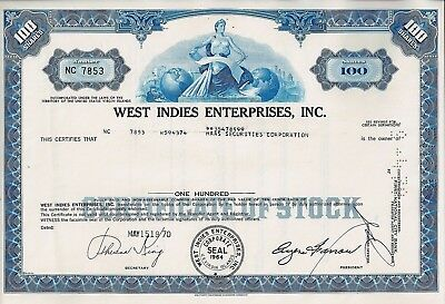 West Indies Enterprises Inc., U.S. Virgin Islands, 1970 (100 Shares)