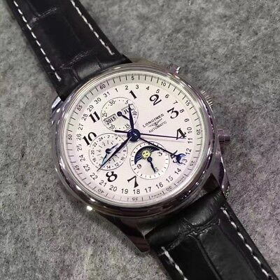 Preowned Never Wored Longines Mens White Triple Eyes Black Leather Classic Watch
