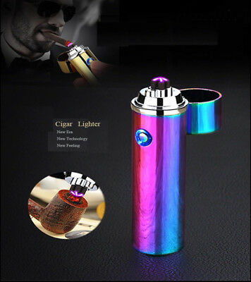 Dual Arc Electric USB Rechargeable Plasma Lighter Windproof Cigar Pipe Gift New