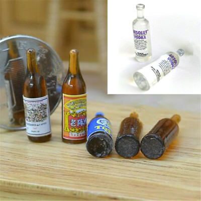 1:12 Miniature Vodka Beer Wine Bottle for Dollhouse Drink Accessory Toy