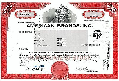 American Brands Inc. New Jersey, 1979 (100 Shares Pref.) - Indianer Vignette