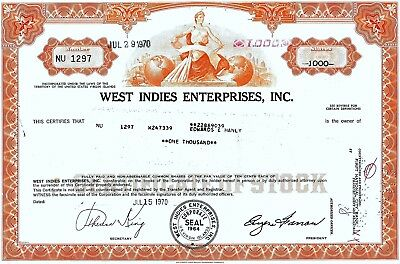West Indies Enterprises Inc., U.S. Virgin Islands, 1970 (1.000 Shares)