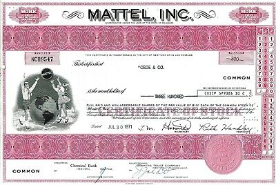 MATTEL, Inc., Delaware, 1971  (300 Shares) - Top-Vignette
