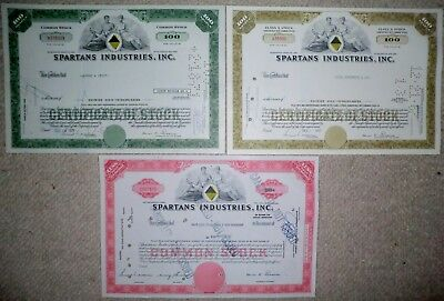 Lot 3 x Spartans Industries Inc., New York, 1967/1971 (15/100/100 Shares)