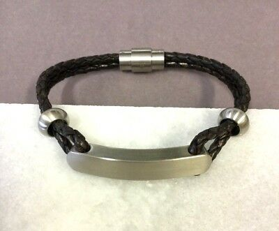 59799dbbb88185 LOVE YOU FOREVER' Plaited Brown Leather Id Men's Bracelet - $17.04 ...