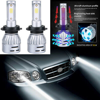 Pair H4 H7 9005 9006 H1 72W 7600LM LED Car Headlight Kit Hi/Lo Beam Bulbs 6500K