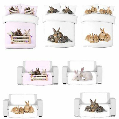 3D Rabbits Art Photo Print Blanket Or Duvet Quilt Cover With Pillowcases