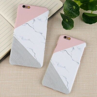 Glossy Granite Marble Contrast Color Hard Phone Cover Case For iPhone 5 6s 7Plus