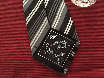 Our Forever Begins Today Groom iron on Wedding Tie Patch