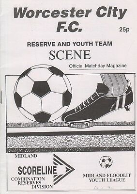 Worcester City v Northfield T res. & Hereford U yth 89/90 football programme