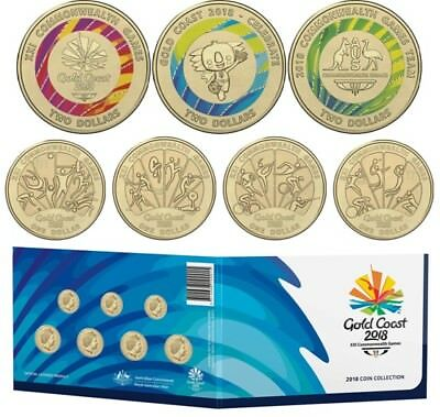 2018 Gold Coast Commonwealth Games $2 Colour & $1 Uncirculated Coin Collection