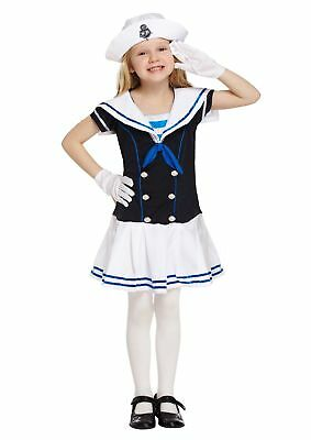 Girls Sailor Fancy Dress Costume Retro Navy Girl Outfit Childs Kids Sea New