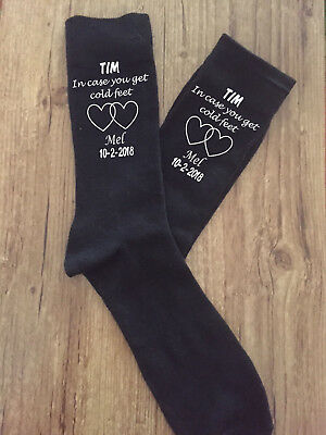 In Case You Get Cold Feet Groom Wedding Socks in Black or Navy
