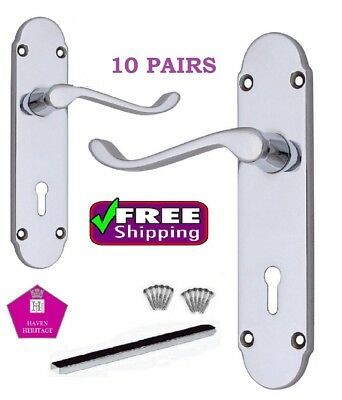 X 10 Sets Chrome Interior Door LOCK Handles Epsom DOOR HANDLE D1