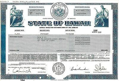 State of Hawaii,  7,30% General Obligation Refunding Bond of 1985  (50.000 $)
